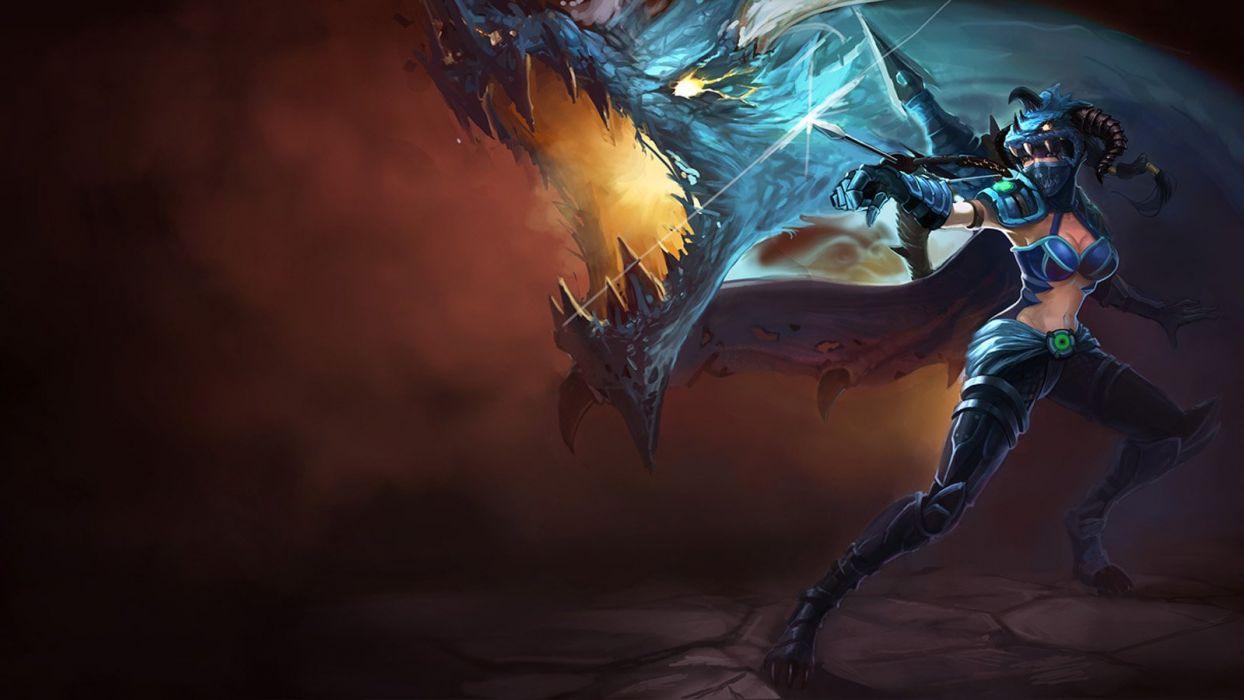 horns League of Legends artwork Dragoon Shyvana wallpaper