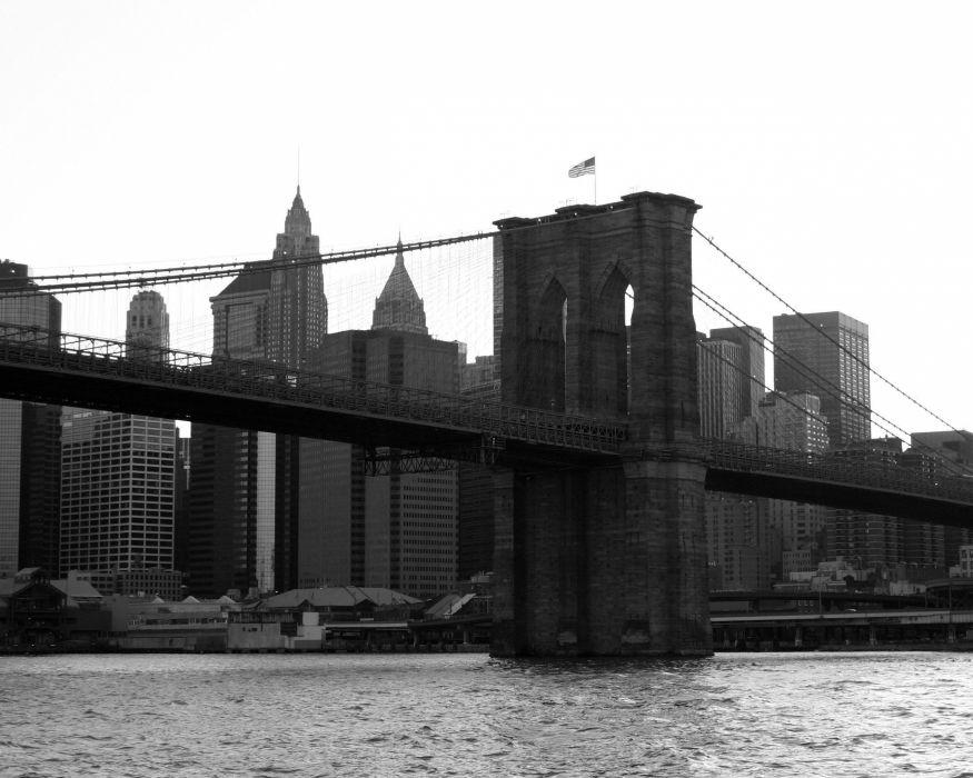 bridges Brooklyn Bridge flags New York City Manhattan grayscale monochrome American Flag wallpaper