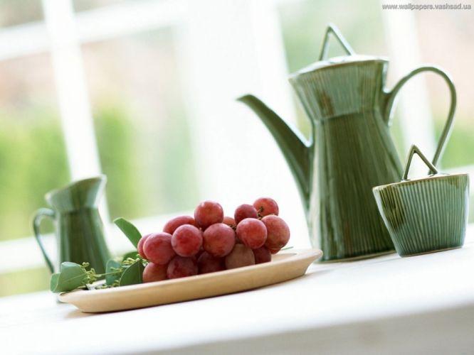 tea fruits cups grapes kettle wallpaper