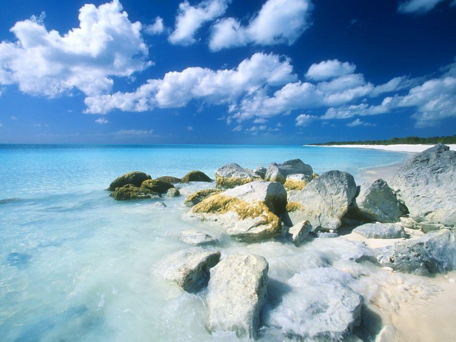 rocks sea beaches wallpaper