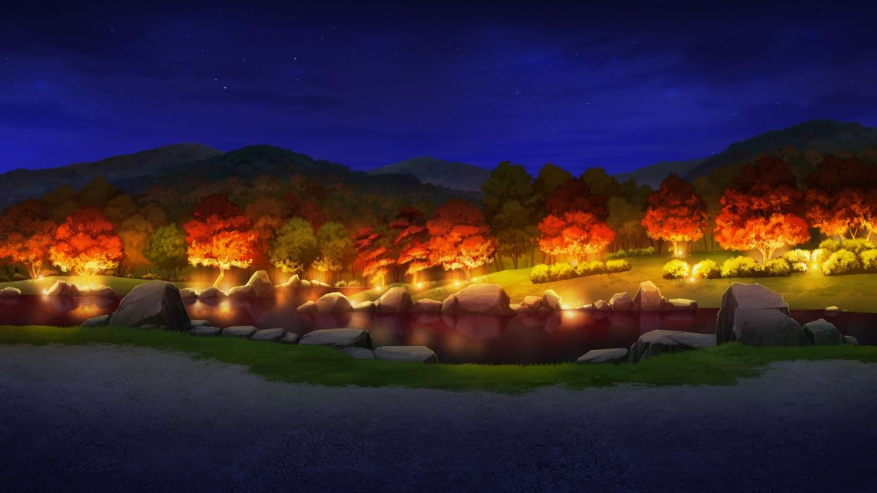 water video games trees night lights wood forests visual novels scenic game CG lakes parks Otome ga Tsumugu Koi no Canvas wallpaper