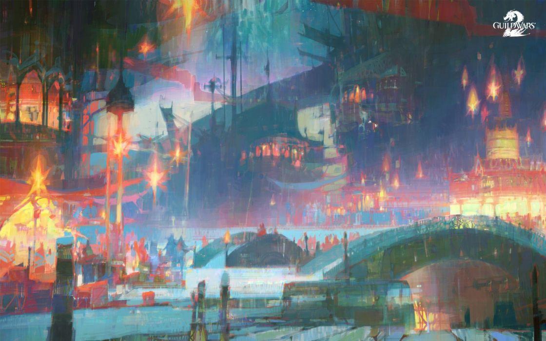 video games night Christmas artwork Guild Wars 2 GW2 wallpaper