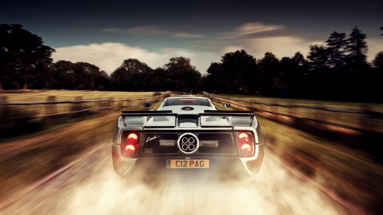 cars Pagani Zonda smoke dust Pagani racing cars wallpaper