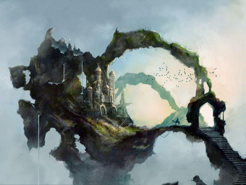 paintings landscapes fantasy art drawings wallpaper