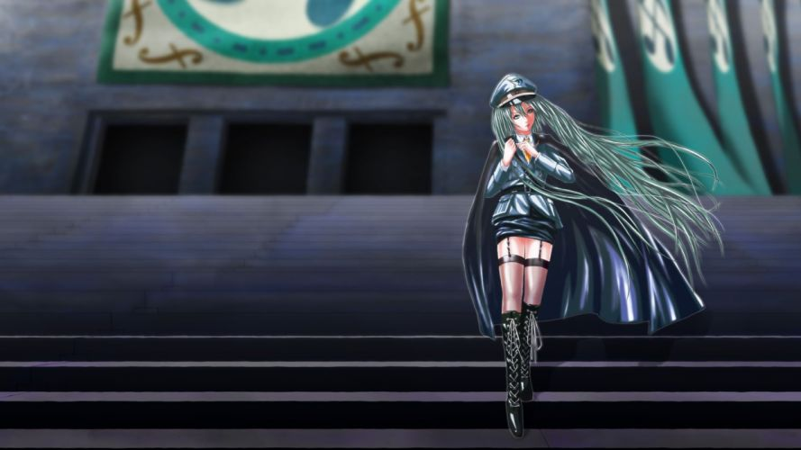 boots uniforms army Vocaloid military Hatsune Miku tie long hair buildings flags stairways green eyes thigh highs green hair capes hats low-angle shot wallpaper