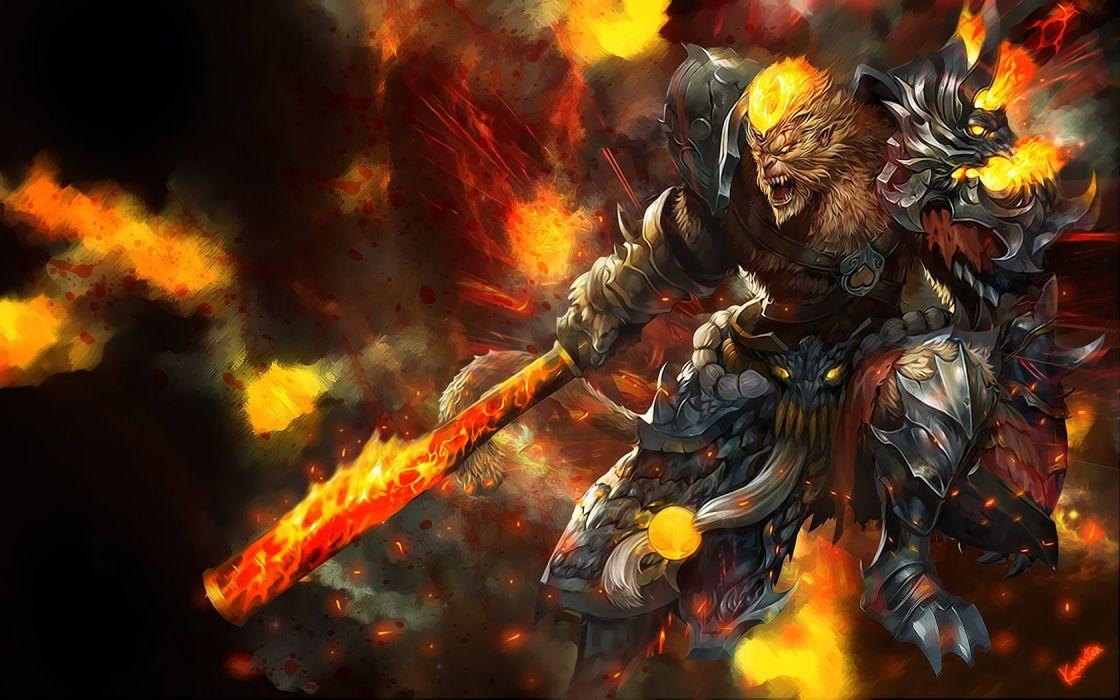 fire League of Legends fantasy art armor Wukong wallpaper