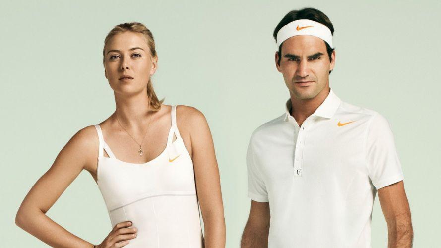 women Maria Sharapova tennis Roger Federer models wallpaper