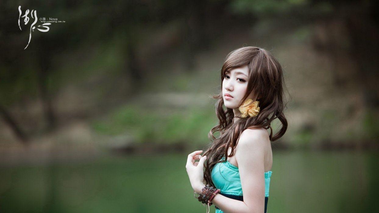 actress models Chinese Asians lakes Xiao supermodels widescreen photo shoot Xiao Ya wallpaper