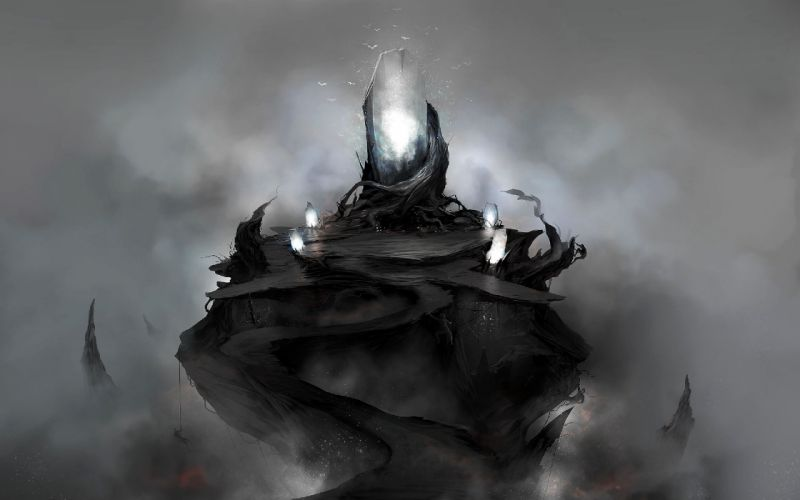 dark fog fantasy art Sanctuary wallpaper
