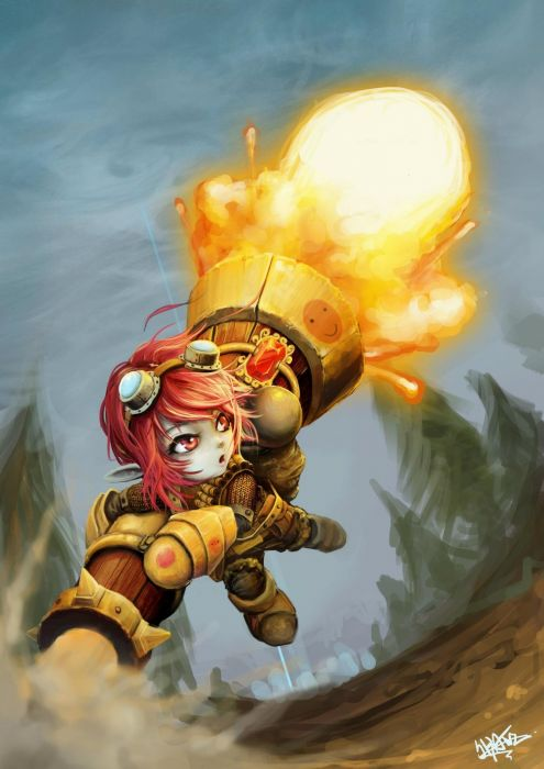 League of Legends jumping armor goggles red eyes short hair smiley face rocket anime girls pointy ears blue skin explosion artist wallpaper