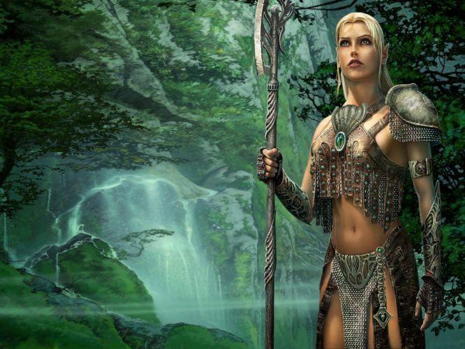 blondes women armor elves warriors spears wallpaper