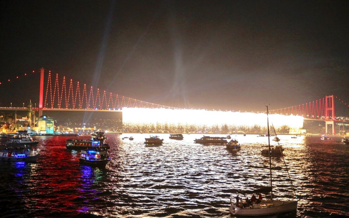 cityscapes fireworks bridges Turkey Istanbul bosphorus Bosphorus Bridge suspension bridge cities wallpaper