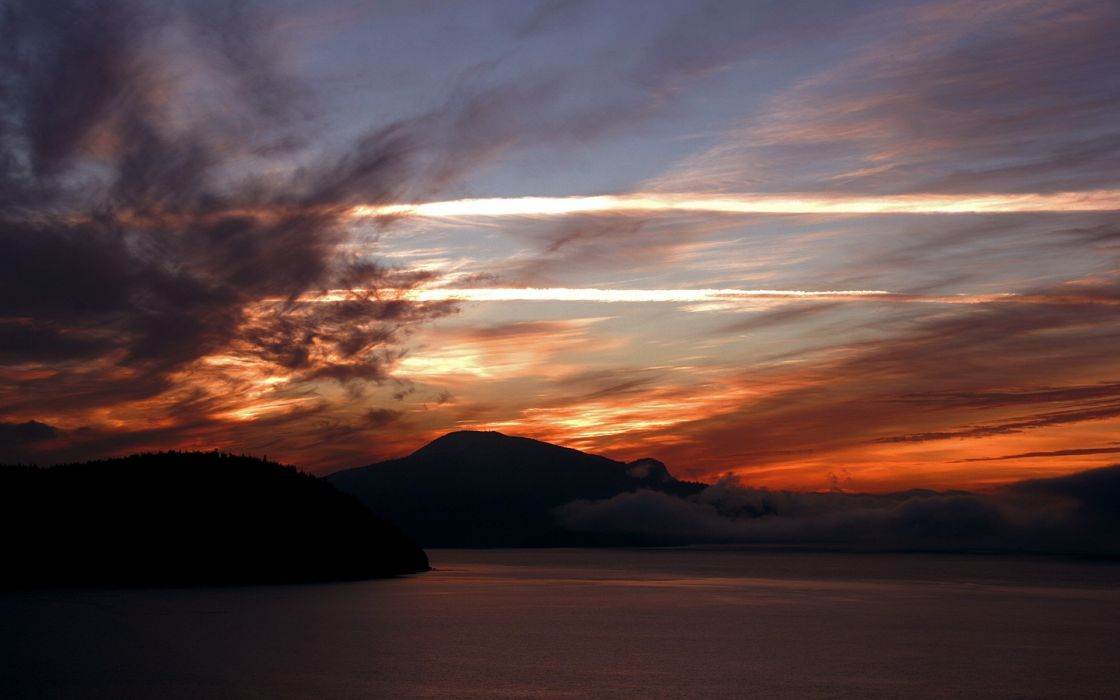 sunset clouds landscapes Canada British Columbia bay wallpaper