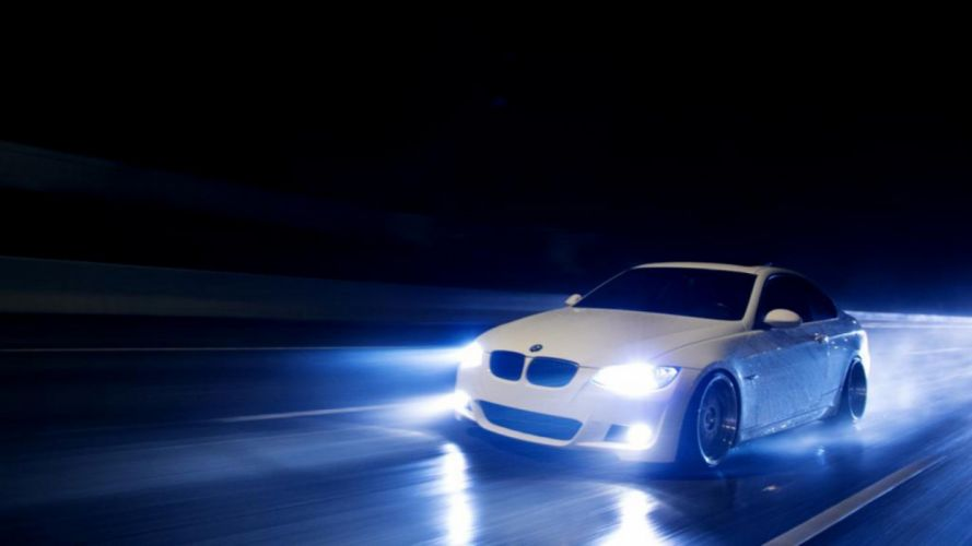BMW night lights rain cars BMW E92 wallpaper