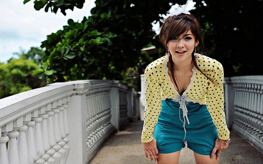 brunettes women Japan eyes Japanese bridges Asians faces wallpaper