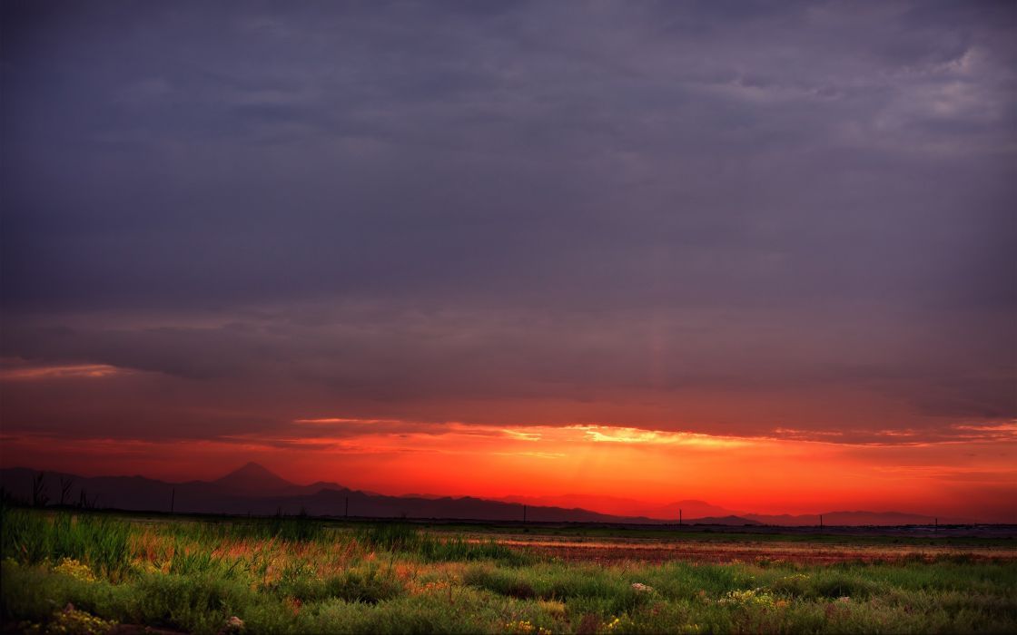sunset clouds landscapes nature horizon fields Iran HDR photography skyscapes wallpaper