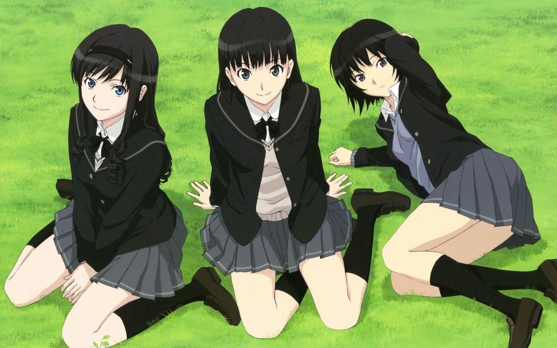 school uniforms Amagami SS Nanasaki Ai Ayatsuji Tsukasa Morishima Haruka knee socks wallpaper