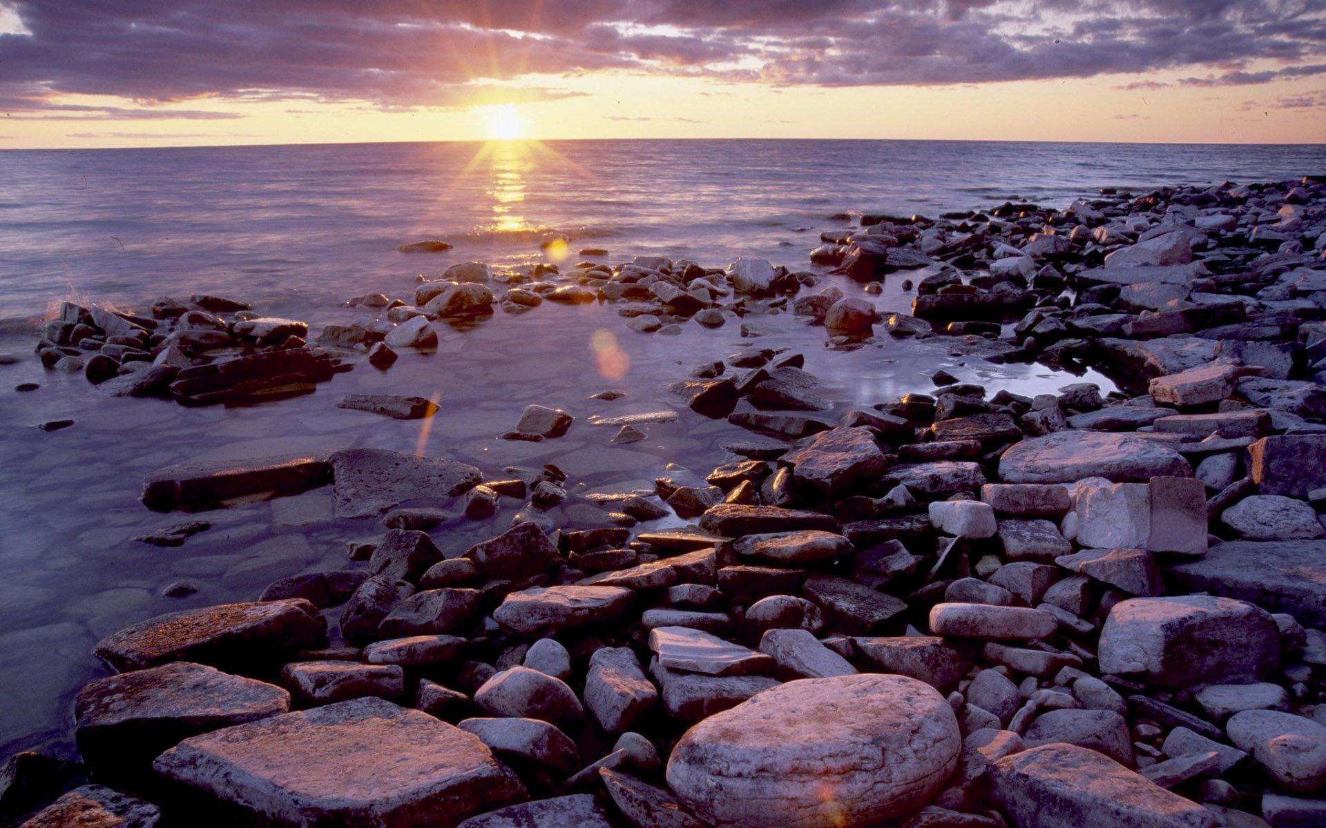 море берег камни закат sea shore stones sunset  № 1033181 бесплатно