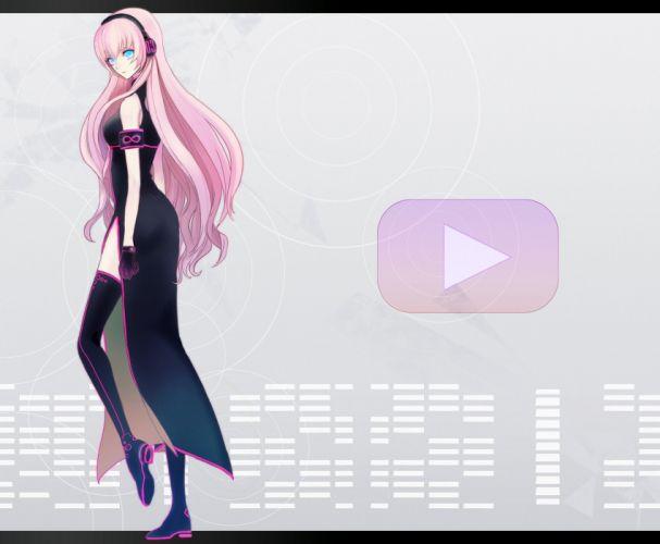 headphones boots Vocaloid gloves blue eyes Megurine Luka long hair pink hair wallpaper