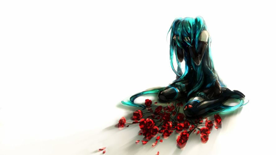Vocaloid flowers Hatsune Miku long hair lonely flower petals roses anime girls detached sleeves wallpaper