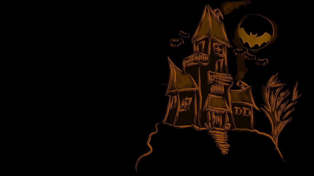 castles dark digital art artwork black background wallpaper