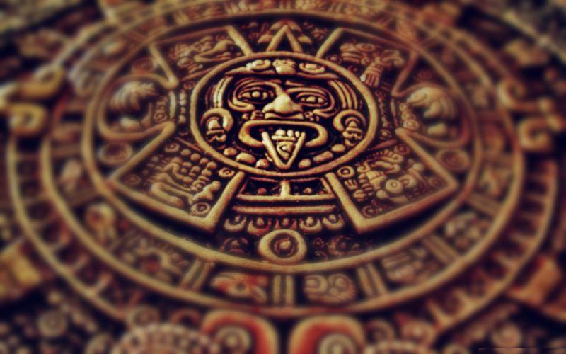 clocks Mexico sculptures archeology aztec wallpaper