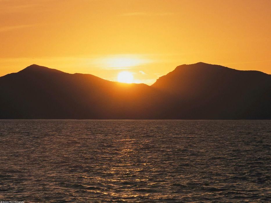 water sunset wallpaper