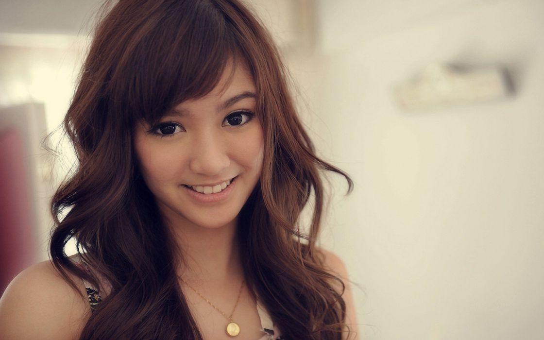 women Japanese long hair brown eyes Asians pendant faces portraits wallpaper
