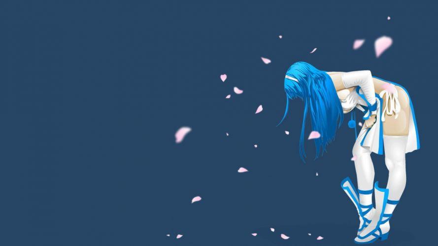 long hair blue hair thigh highs anime simple background anime girls blue background wallpaper