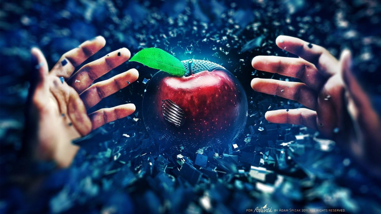 digital art apples Adam Spizak wallpaper