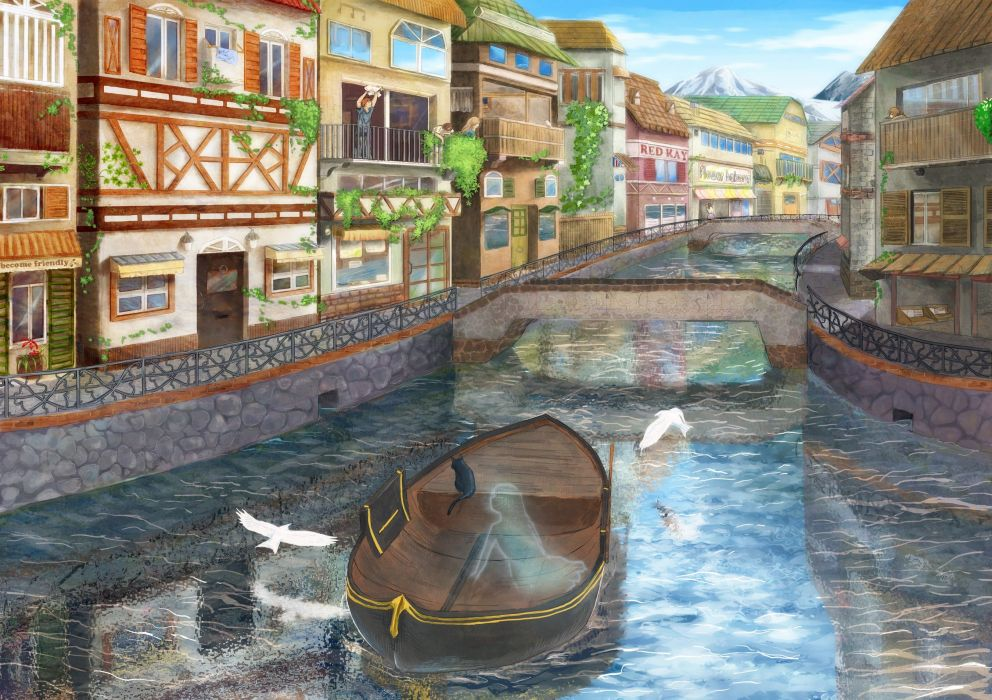 cats houses ghosts boats canal cities channel wallpaper