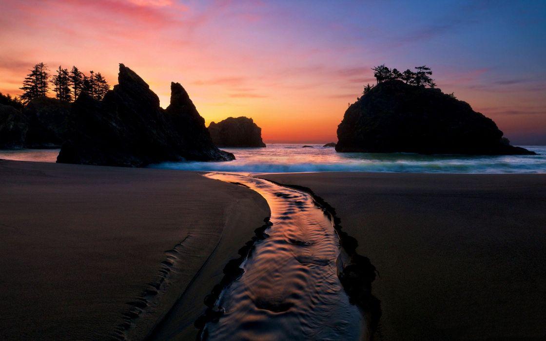 sunset landscapes nature sand trees rocks rivers colors sea beaches wallpaper