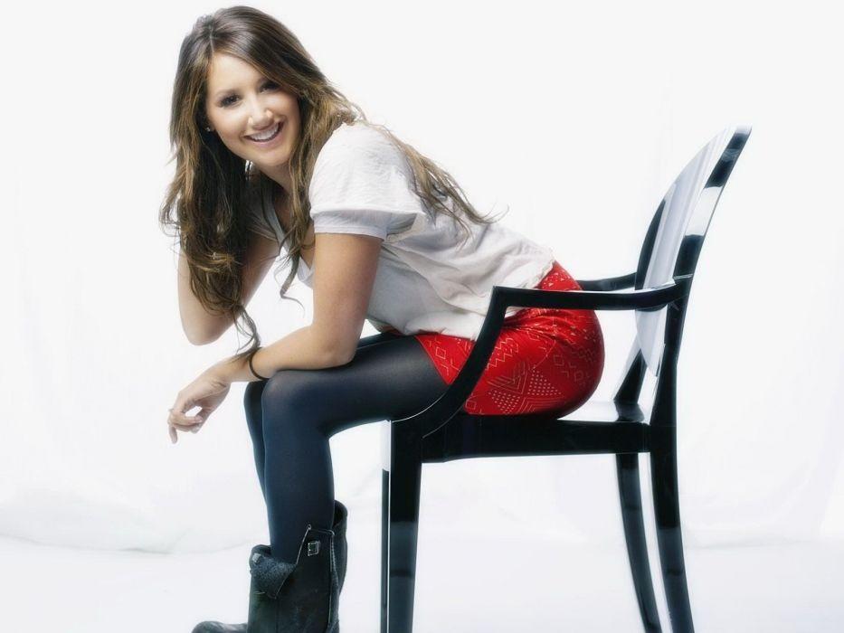 brunettes women Ashley Tisdale chairs wallpaper