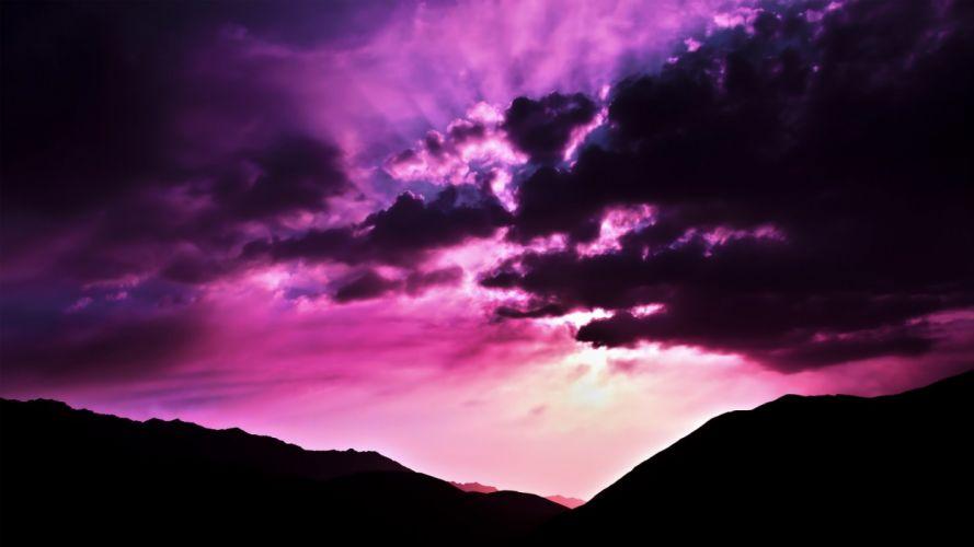 nature purple morning scenario wallpaper