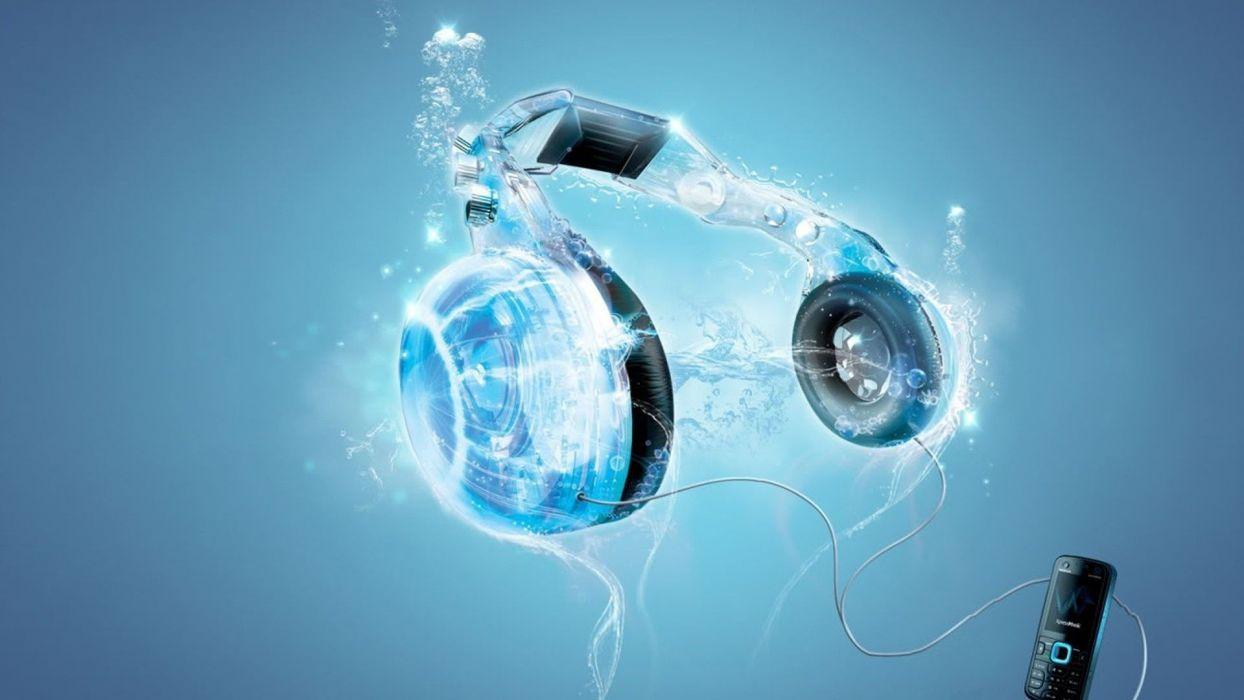headphones blue music 3D art wallpaper