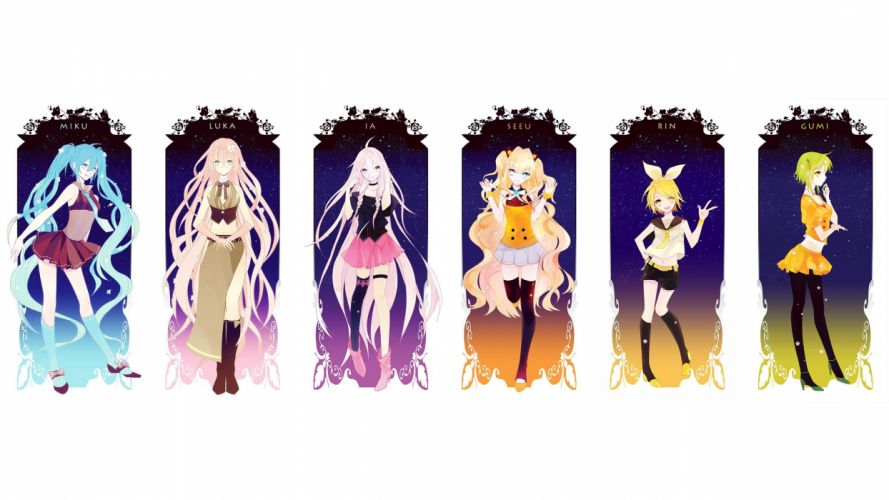 boots blondes Vocaloid gloves dress flowers Hatsune Miku text blue eyes tie skirts Megurine Luka long hair belts Kagamine Rin blue hair shoes jackets tongue pink hair short hair thigh highs yellow eyes twintails navel collar open mouth hips bracelets shor wallpaper