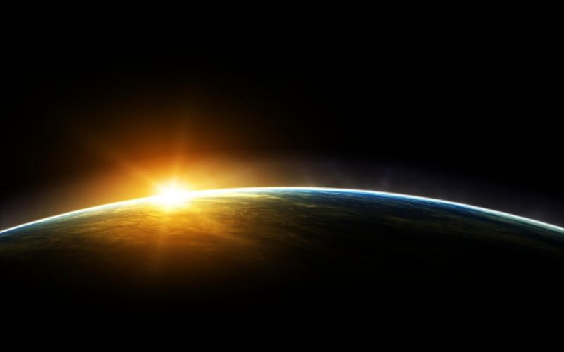 sunset outer space orbit wallpaper