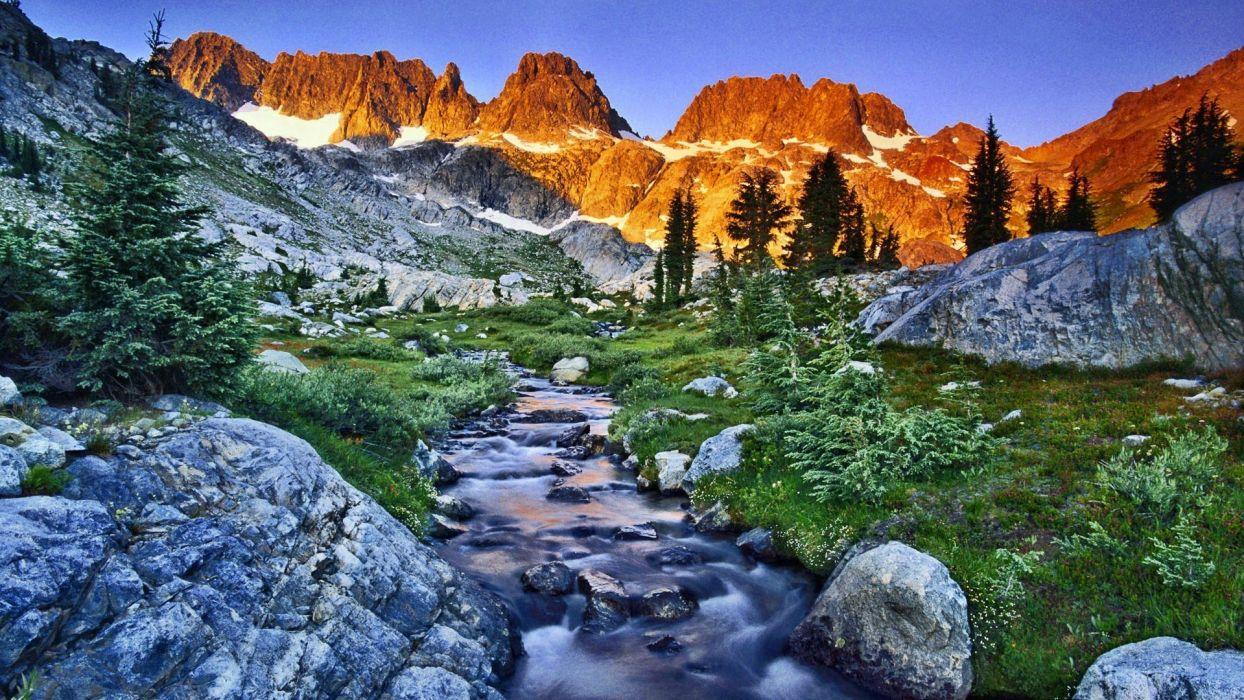 mountains landscapes nature California streams land wallpaper