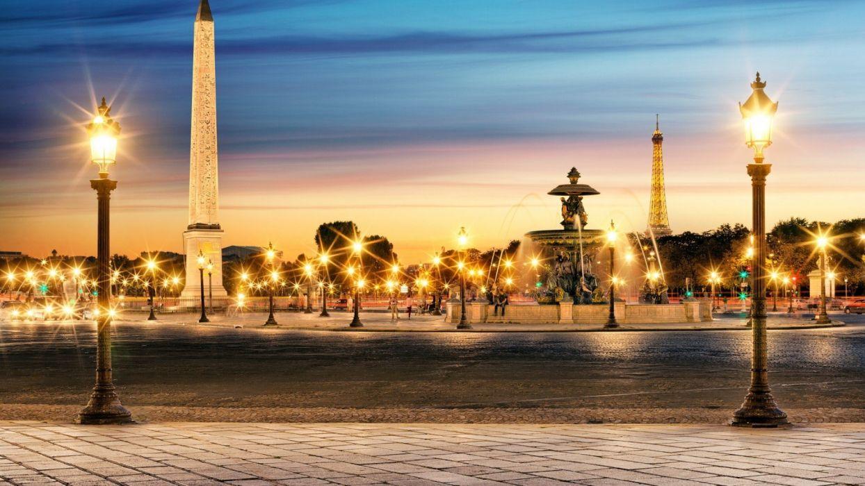 Paris cityscapes France Obelisk evening Luxor cities The Luxor Obelisk wallpaper