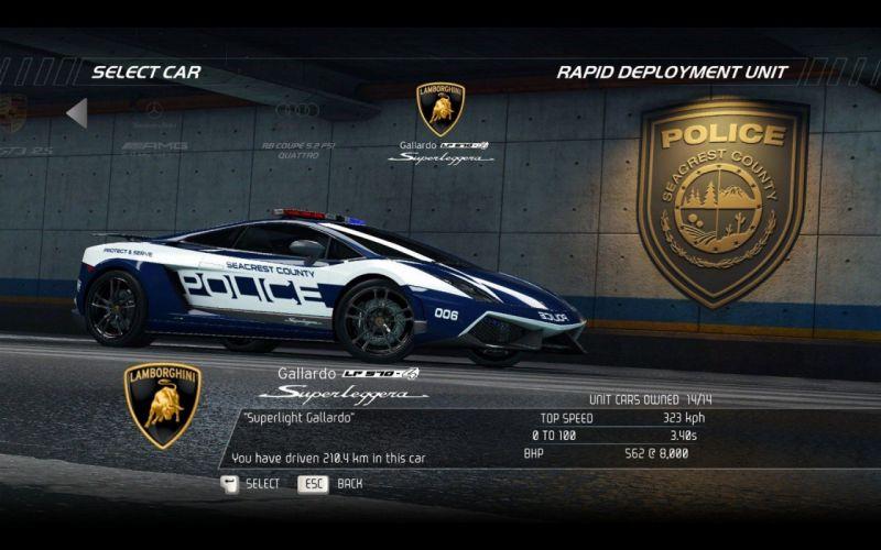 video games cars police Lamborghini Gallardo Superleggera Need for Speed Hot Pursuit pc games wallpaper