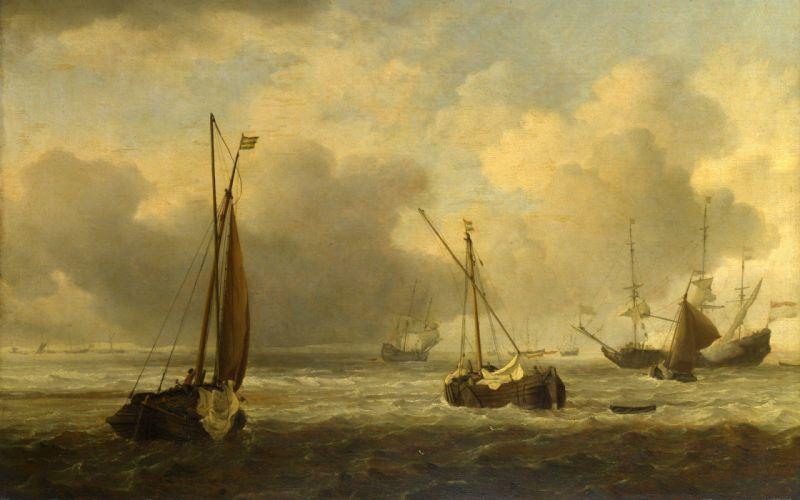 paintings boats vehicles sea wallpaper