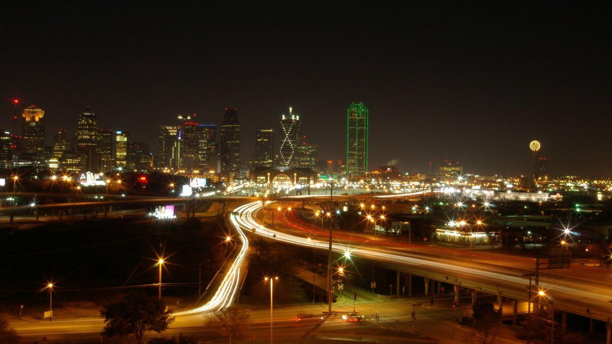 cityscapes buildings Dallas long exposure wallpaper