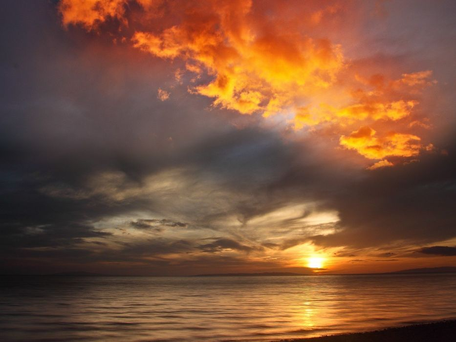 sunset ocean clouds landscapes wallpaper
