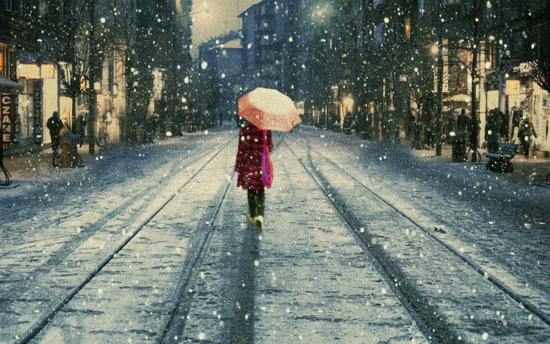 snow Istanbul umbrellas Istiklal street lifestyle street wallpaper