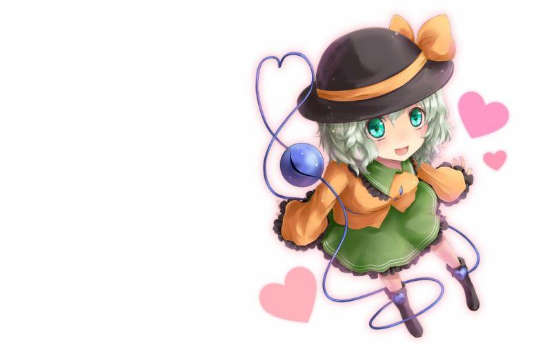 video games Touhou ribbons green eyes short hair open mouth hearts gray hair Komeiji Koishi hats simple background anime girls white background wallpaper