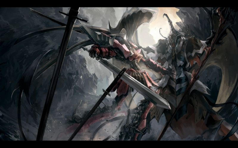 dark robots katana fight mecha weapons armor battles Five Star Stories soft shading swords Satan (Five Star Stories) L_E_D_ Mirage B4 wallpaper