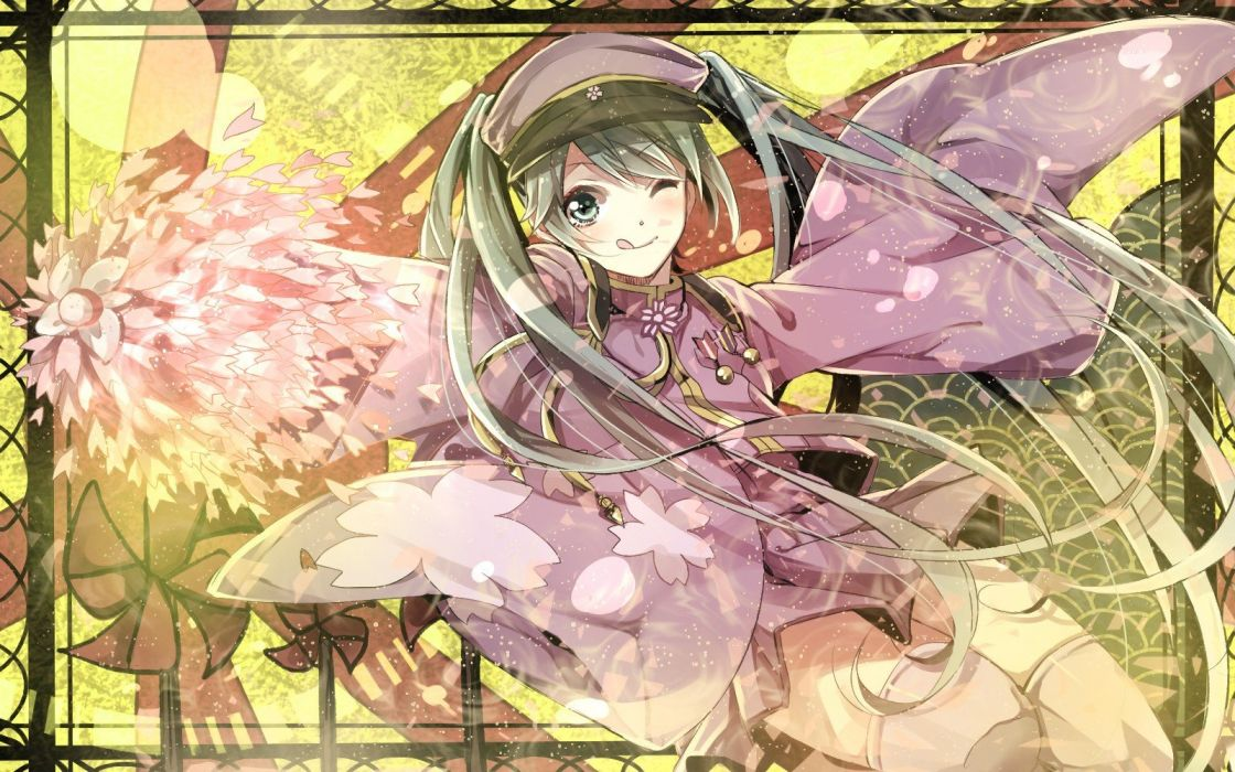 uniforms Vocaloid Hatsune Miku green hair Japanese clothes Senbon Zakura (Vocaloid) wallpaper