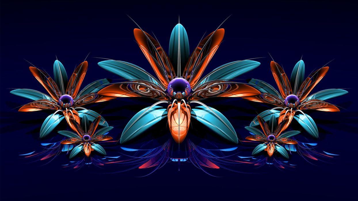 blue flowers orange fractals purple CGI digital art reflections wallpaper
