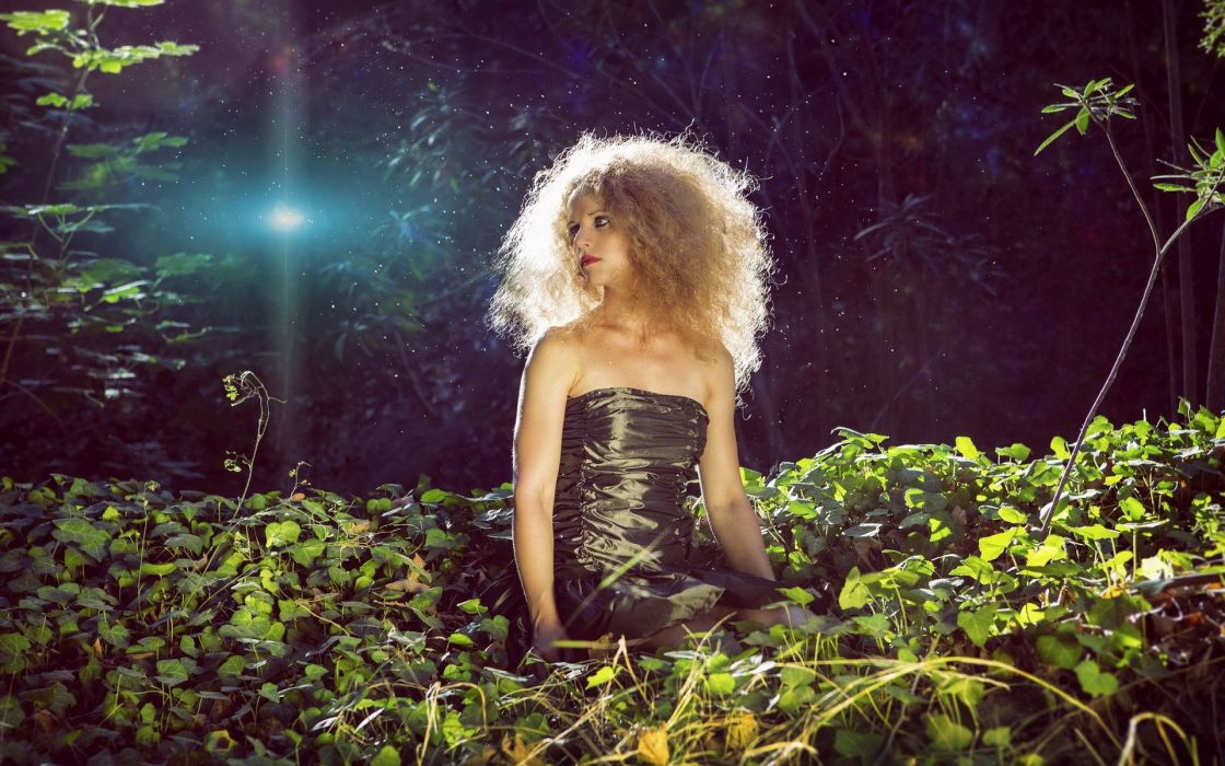 blondes women nature forests photo art wallpaper