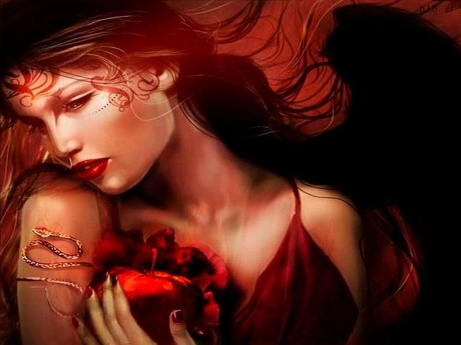 women red fantasy art apples mythical wallpaper